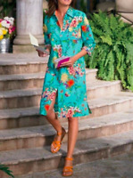 Soft Surroundings Women's Teal Floral Spring Long Sleeve Shirt Dress Size Small