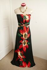 CAROLINE MORGAN Black MAXI DRESS Size XL 14 Long Strapless Floral Red Green Gold