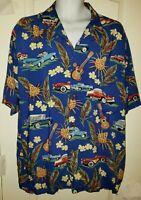 Joe Kealuha's Reyn Spooner Hawaiian Shirt Blue Men's Size Large Cars Flowers