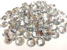 100 x 12mm Rhinestone DIAMANTE Flat Back Gems CLEAR Crystals Stick On with Glue!