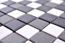 Mosaïque carreau céramique noir blanc métal cuisine bain 18-2213-R10_b |1 plaque