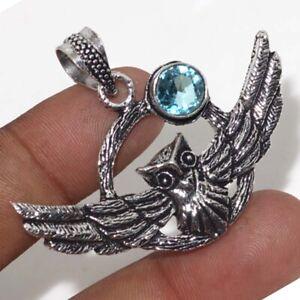 "Blue Topaz Ethnic Handmade Flying Owl Pendant Jewelry 1.5"" JW"