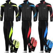 Mens winter cycling Jackets Trouser with padded and Gloves full fingers Sets
