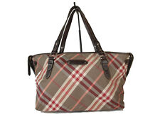 BURBERRY LONDON BLUE LABEL Nova Check Nylon Canvas Browns Red Tote Bag