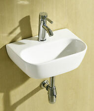 Small Compact Round D Shaped Cloakroom Basin Bathroom Sink Wall Hung 420 X 290