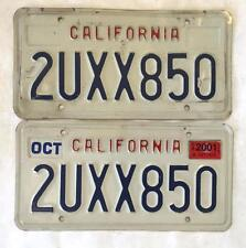 2001 California License Plates Pair Original Collector White and Blue October