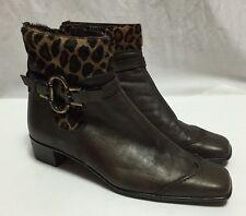Sesto Meucci Ankle Boots Women's 6.5 Brown Bronze Leather Faux Fur Leopard Shoes