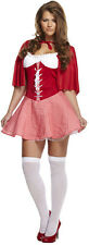 Women SEXY LITTLE MISS RED CLOAK Riding Hood Fancy Dress Lady Hen Night Costume