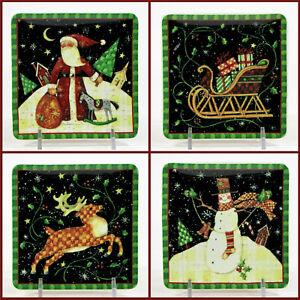 """MWW Market PRIMITIVE CHRISTMAS 4.5"""" Mini Plate Set 4P Santa Snowman Susan Winget"""