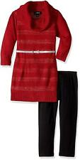 Amy Byer Girls' Big 3/4 Sleeve Sequin Stripe Cowl Set, Red, Large