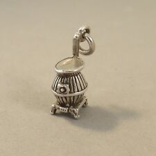 .925 Sterling Silver 3-D POT BELLY STOVE CHARM Pendant Cook Wood NEW 925 KT100