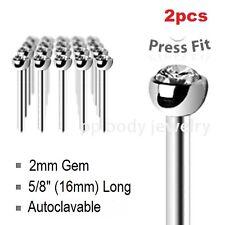 """2pcs. 18Ga~5/8"""" Surgical Steel Fishtail Autoclavable 2mm Clear Gem Top Nose Stud"""