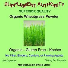 Wheatgrass Powder Capsules Organic, Gluten Free, Kocher, 100ct Superior Quality!