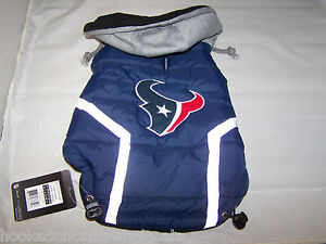 Houston Texans NFL Dog Vest Coat Jacket Puffer Style Hooded - Medium