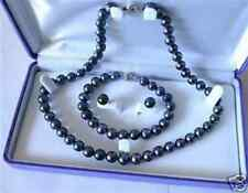 "Bracelet Earring Set 18"" 7.5"" 7-8mm Black Akoya Cultured Pearl Necklace"