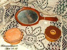 Vintage Antique VANITY SET 1800's Large Beveled Glass Hand Mirror Collectibles