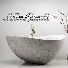 Breathe Let Go Relax Lettering Bath Words Bathroom Vinyl Decor Decal Wall Kids