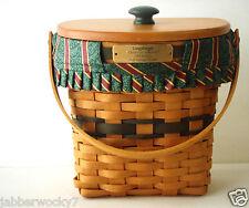 1998 Green Longaberger Basket Wood Lid Protector Combo - Christmas Glad Tidings