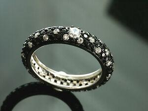 925 Silberring mit Zirkonia Steinen Weiß und Schwarz ganz umlaufend