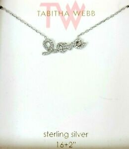 """NEW TW STERLING SILVER,CRYSTALS LARGE CURSIVE """"LOVE"""" CHARM,CHAIN NECKLACE+BOX"""