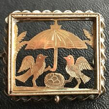 Antique Victorian Gold Filled Lovebirds Bird Nest Under Umbrella Pin Brooch