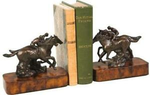 EQUESTRIAN BOOKENDS BOOKEND TRADITIONAL ANTIQUE HORSE PHOTO FINISH RESIN TH