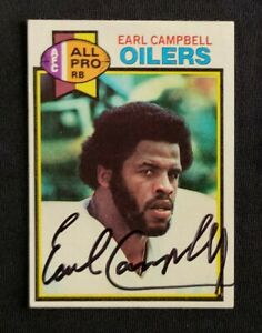 Earl Campbell Houston Oilers 1979 Topps #390 RC Signed Authentic Autograph HOF