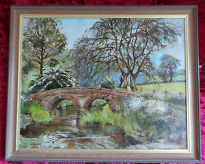 PICTURESQUE VIEW OF A BRIDGE NEAR TALYLLYN (WALES) - OIL PAINTING ON CANVAS.