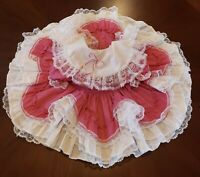Beautiful Vintage Girls Baby Dress Ruffle Layered Pink Floral Circle Pagent  Sz2