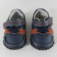 Pediped Originals Channing Navy Infants Shoes Leather XS 0-6 Mos Orange Blue