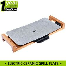 Electric Ceramic BBQ Grill Non-stick Surface Hot Plate for Indoor & Outdoor Grey