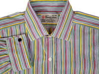Turnbull & Asser Men's Dress Shirt 15.5/39 French Cuff Multicolor Striped
