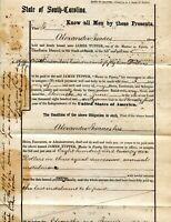 1870 CHARLESTON SC BOND ALEXANDER ISAACS TO JAMES TUPPER  REVENUE STAMP