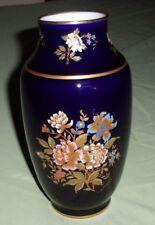 Limoges Cobalt Blue Floral Vase 22K Trim~ Hand Painted, Signed Antique France
