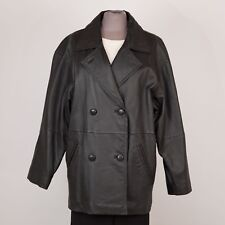 Women's Leather Pea Coat Jacket Size S Small Black Removable Liner OUTBROOK