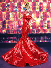 Red Sequine Evening Mermaid Dress Outfit Gown Silkstone Barbie Fashion Royalty