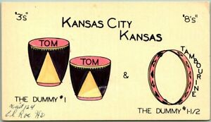 "Kansas City, KANSAS Postcard QSL Amateur Ham Radio Card ""Tom Tom & Tambourine"""