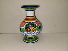 """Beautiful Mexican Talavera Pottery Floral Vase Vintage Hand Painted Signed 4"""""""