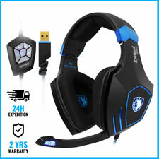 SPELLOND PRO WIRED GAMING HEADSET 7.1 SURROUND HEADPHONES OVER EAR +MICROPHONE