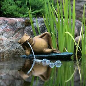 Aquascape 78311 Lazy Frog on Lily Pad Pond and Garden Water Fountain Patina
