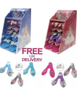 Princess  Fancy Dress Up shoes 3+ Tiara  Kids Gift Set dress up clip on earrings