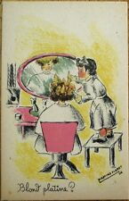 Martine Floret/Artist-Signed 1940 Postcard: Girl at Beauty Salon/Parlor