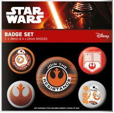 STAR WARS EPISODE VII Ansteck-Buttons 5er Join RESISTANCE - 2,5 & 3,8 cm-Neuf