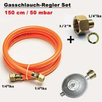 "Gasschlauch Druckminderer + Übergang 1/2"" R  x 1/4"" lks LPG Adapter f. Gaskocher"