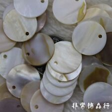 20mm Flat Coin Natural Sea Shell Beads Gemstone Beads for Jewelry Making 10PCS