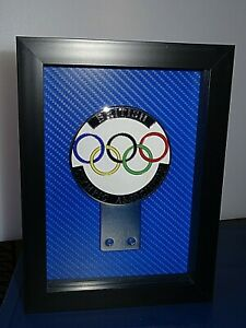 Framed pre-owned vintage British Olympic Association grille badge