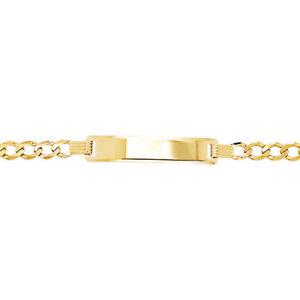 "Child's 9ct Yellow Gold Hallmarked 6"" Bevelled Curb Identity Bracelet"