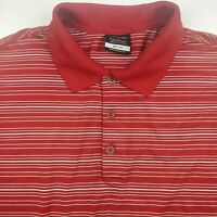 Nike Golf Mens L Polo Shirt Dri Fit Short Sleeve Red Striped