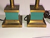 Vintage Set of 2 Brass Table Lamps w Green Pottery Square Base, Nice! See pics!