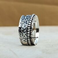 925 Sterling Silver Spinner Ring Wide Band Meditation Statement Jewelry A247